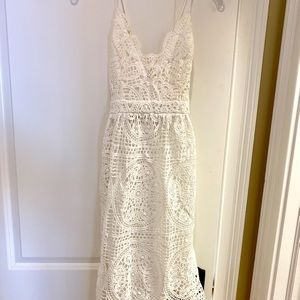 V Neck, Cross Strap, Lace Overlay white midi dress